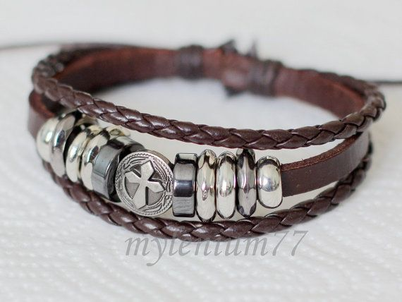 237 Men's brown leather bracelet Cross bracelet Charm bracelet Braided bracelet Christian bracelet Religious leather jewelry For men & women