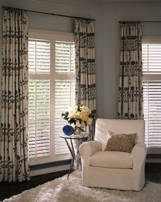 Love the plantation shutters with drapes decorating for Decorating with plantation shutters