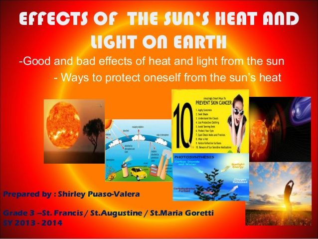 EFFECTS OF THE SUN'S HEAT AND LIGHT ON EARTH -Good and bad effects of heat and light from the sun - Ways to protect onesel...