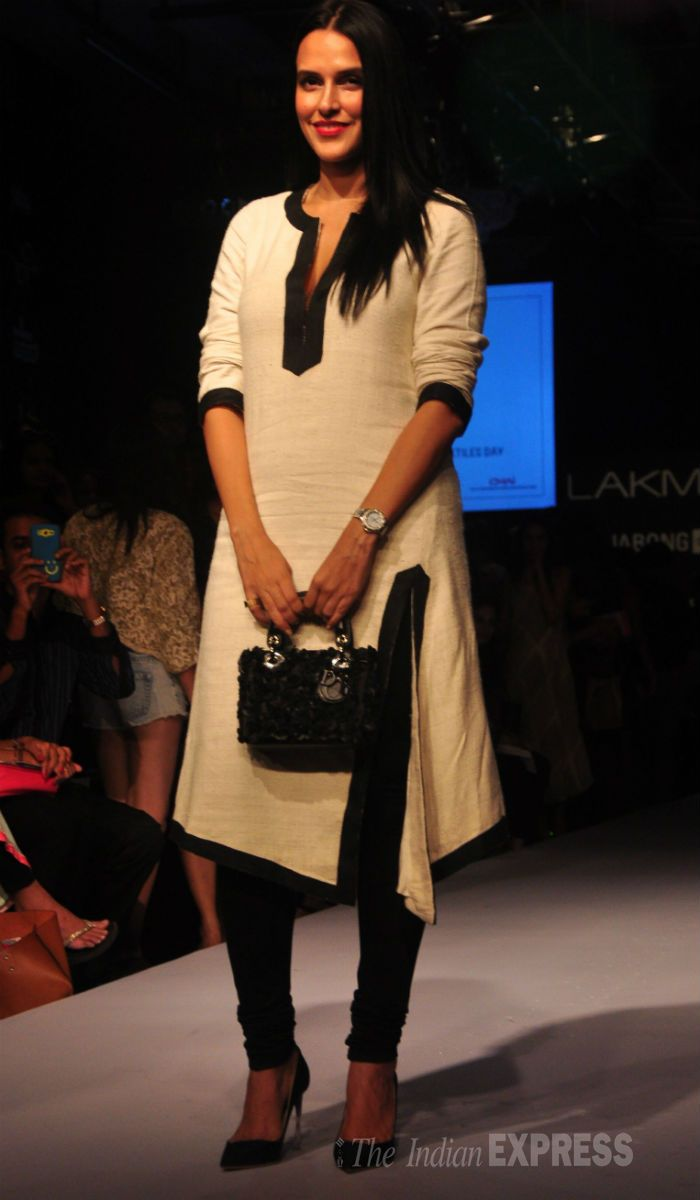 Neha Dhupia was sober and subtle in Payal Singhal's creation  Visit:http://www.indiansareestore.in/kurtis/office-wear-kurti