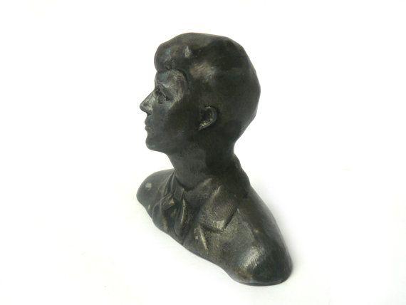 #Vintage Yesenin Bust, Yesenin Statue Figurine Russian Poet, Metal Bust Sergei Yesenin, Soviet plastic metal figure Esenin, Bust Esenin  Yesenin (Esenin) was one of the most... #etsy #vintage #gift #nostalgishop #accessories #retro #giftforher #forhim
