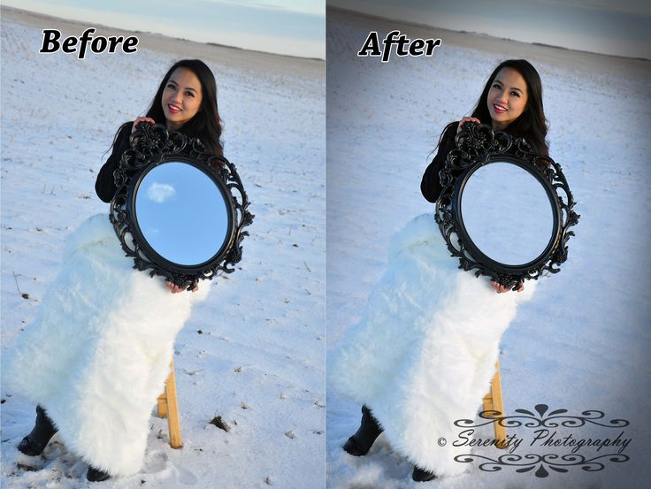 Before and after edits on the mirror photography from our winter wonderland shoot.