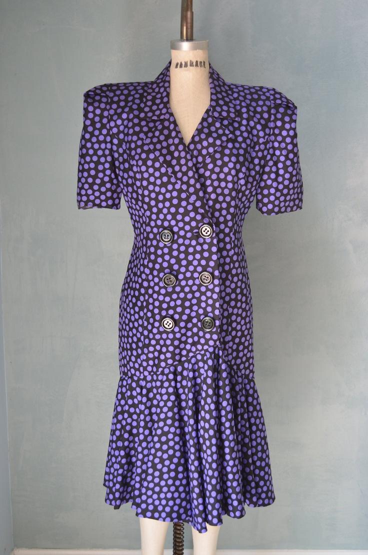 Vintage 80s Purple and Black Polka Dot SILK Dress RAUL BLANCO for Neiman Marcus.