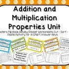 This product has everything you need to teach, review and assess the properties of addition and multiplication. This product includes the following posters: Commutative, Associative, Identity Property of Addition Commutative, Associative, Identity, Distributive Property of Multiplication The sets come in 5 different versions (blue, green, orange, yellow, white). Allows mix and match. Also included:  Flip Book, Covers, Worksheets, Cut, Sort and Paste Activity, Fill-in the chart Activity