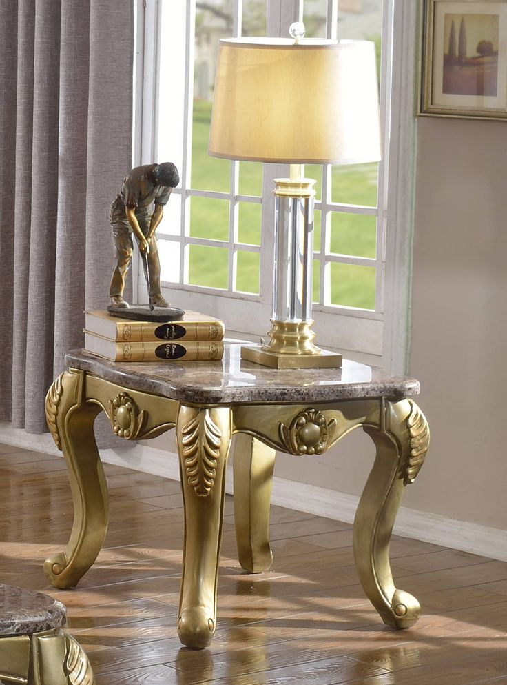 Valencia Traditional Rich Gold Genuine Marble Top End Table