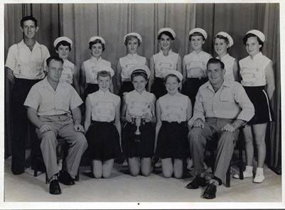 Maryborough Marching Girls 1955,s — with George Cain. Contributed by Bryan Turner