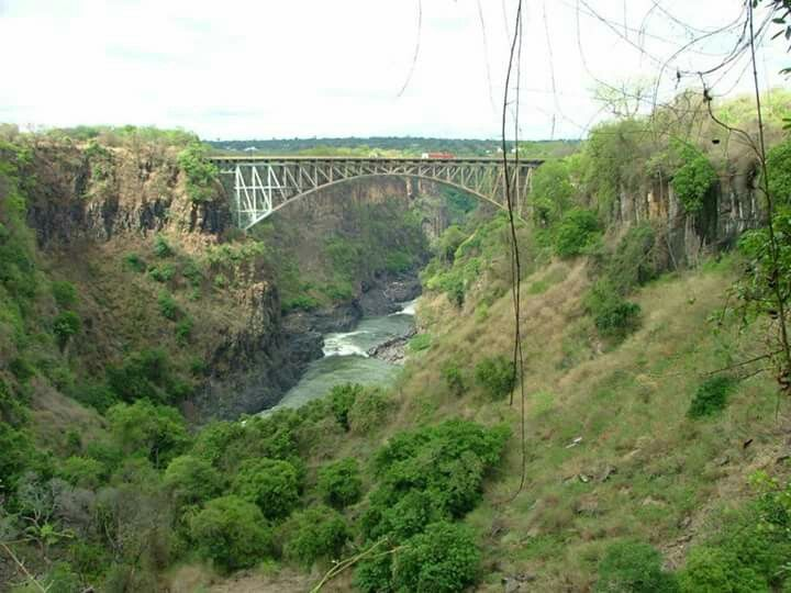 "Victoria Falls - Zambia side ""Livingstone bridge in the distance"""