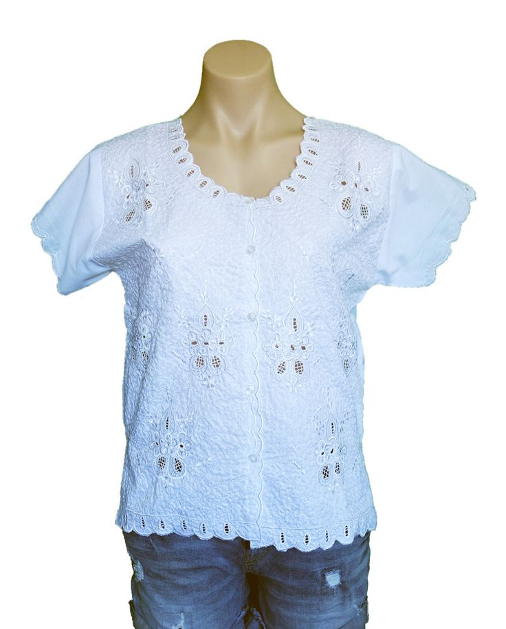 Handmade fine embroidered short-sleeves blouse in white by MexicanitaBoutique on Etsy