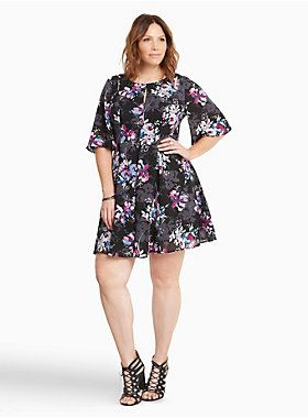 "<div>We're spilling the tea on this garden party skater dress. While the black georgette (complete with curve-defining seams) is keeping it sleek, the multi-color floral print makes no apologies about its love for all things frilly. The flutter sleeves are a bit of a #tbt, but the cutout shoulders are here in the now.</div><div><br></div><div><b>Model is 5'9.5"", size 1 </b></div><div><ul><li style=""list-style-position: inside !important; list-style-type: disc !important"">Siz..."