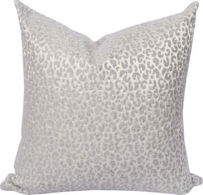 Snow Leopard pillow in silver grey and cream by Tonic Living. Under $50 <mwah!