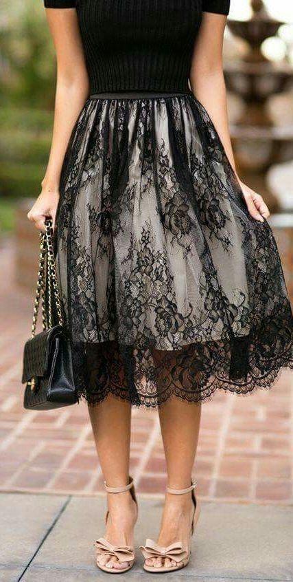 fashion trends / black top + bag + lace midi skirt + heels