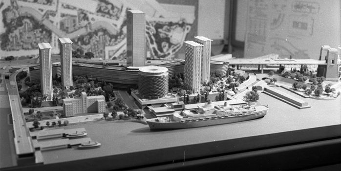 One of the architectural models submitted for the proposed redevelopment of the Rocks 3 April 1962