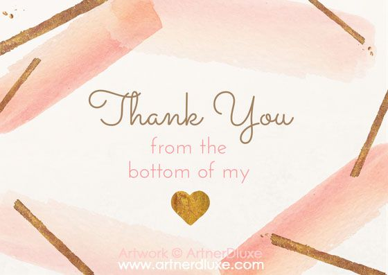 Thank You card with rose brush strokes and gold accents created using https://www.canva.com/artnerdluxe. Personalize your own version with Canva. Artwork elements © ArtnerDluxe. www.artnerdluxe.com