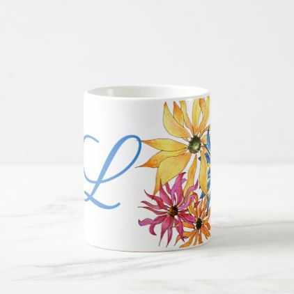 Floral Art Monogram Initial Coffee Mug - monogram gifts unique custom diy personalize