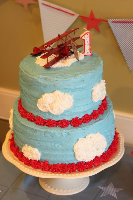 """Time Flies"" vintage airplane birthday cake"