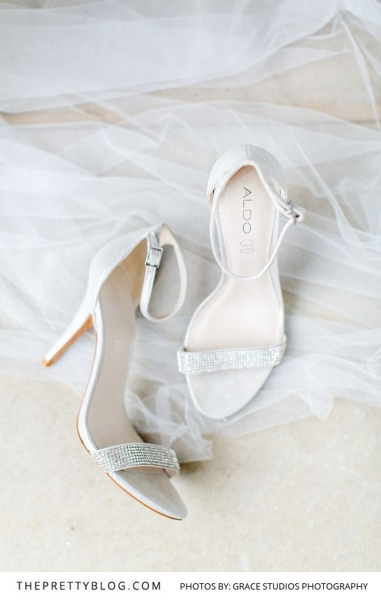 White Strap Wedding Heel with Small Diamante detail   Shoes from Aldo