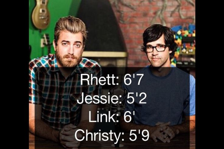 The heights of Rhett, Link, and their wives. Jessie is like my height!