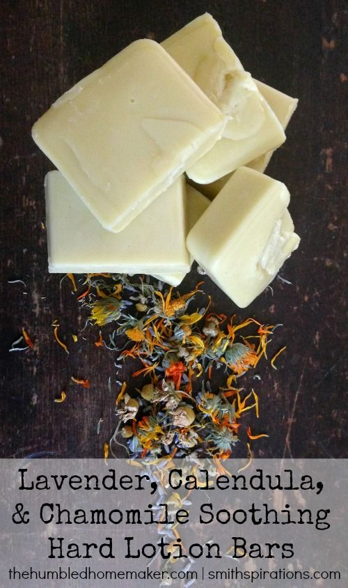 This DIY hard lotion bar recipe features an herb-infused oil, shea butter, beeswax, and lavender essential oil. Keep your hands smooth and moisturized this winter! / Holistic Beauty <3