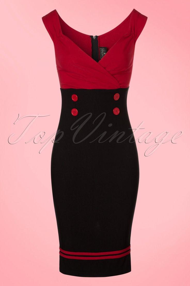 Rockabilly Shoes for Women 50s Diva Set Sail Pencil Dress in Black and Red £76.96 AT vintagedancer.com