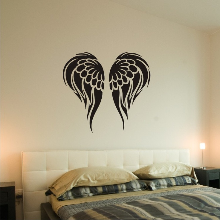 Angel wings wall decal removable vinyl wall art 0162 for Angel wall mural