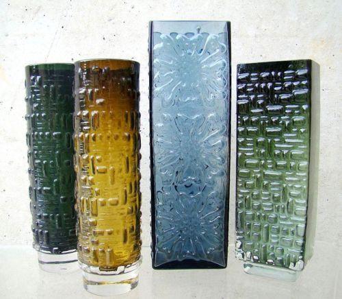 emil funke gral glashütte 60's pop bubble art 4 vasen glasvase