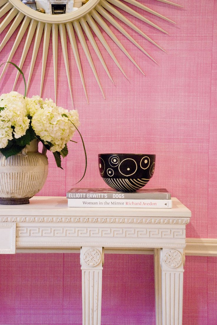 Drysdale Lipstick Pink Faux Linen Wallcovering