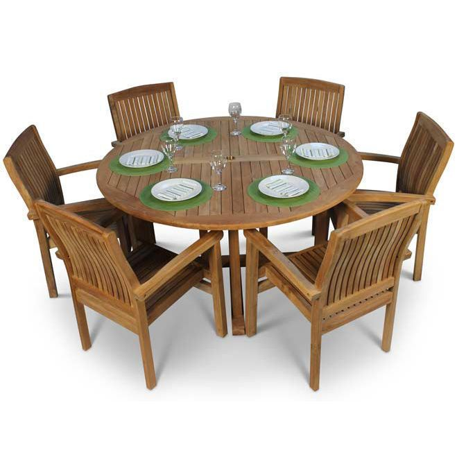 Details about Teak Garden Furniture Table Chairs Set Round Wooden Parasol  Hole Outdoor 7 Piece
