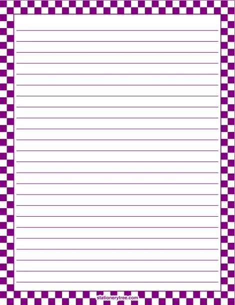 Printable purple and white checkered stationery and writing paper. Multiple versions available with or without lines. Free PDF downloads at http://stationerytree.com/download/purple-and-white-checkered-stationery/