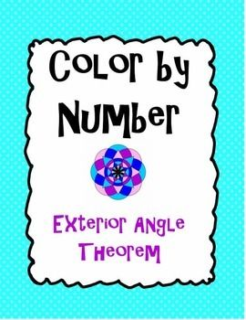 In this activity, students will practice applying the Exterior Angle Theorem as they color to reveal a beautiful, colorful pattern! Students will find measures of indicated angles or variables and then color their answers on the mandala according to the color given.