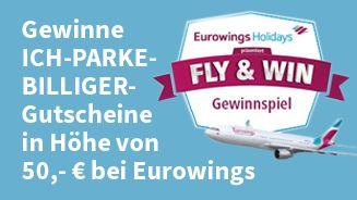 Eurowings und ICH-PARKE-BILLIGER.DE verlosen 100 Gutscheine. Mach mit und ergattere verschiedene attraktive Haupt- und Sofortgewinne. Mit etwas Glück gewinnst du eine Traumreise, einen Parkplatzgutschein im Wert von 50,- EUR von ICH-PARKE-BILLIGER.DE oder weitere Preise von Lieferando, Mister Spex, Preis 24, Küchen Quelle und viele mehr!