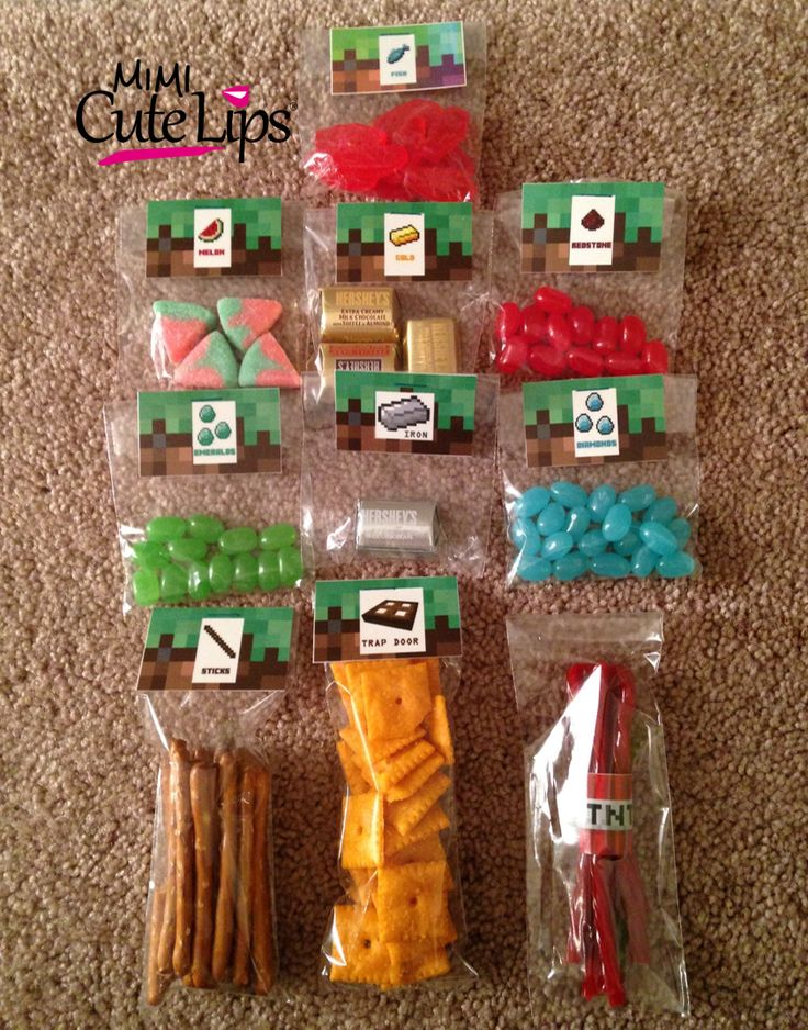 DIY Minecraft party. (I love the TNT twizzlers!)