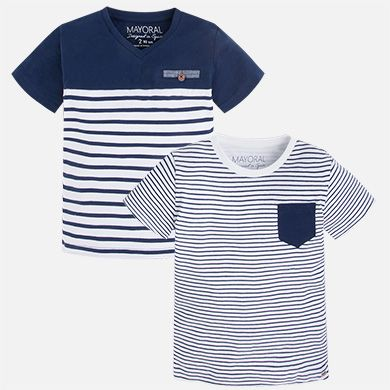 Camisetas niño manga corta a rayas Azul - Mayoral