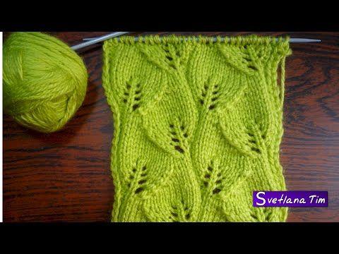 Оригинальный пуловер спицами с узором листики | Вяжем с Лана Ви