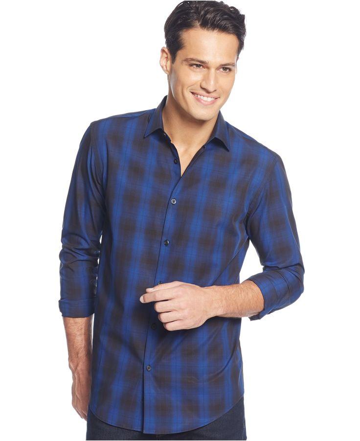 Alfani Long Sleeve Ombr Plaid Shirt Casual Button Down