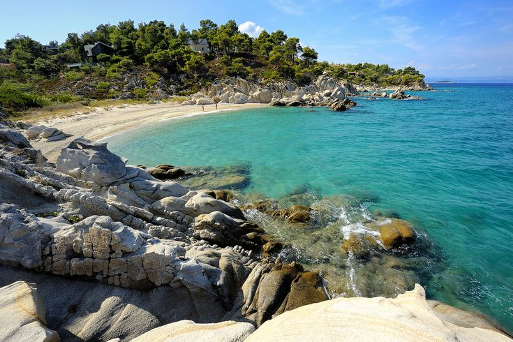 CHALKIDIKI Beautiful beach of Vourvourou. Sithonia, Greece