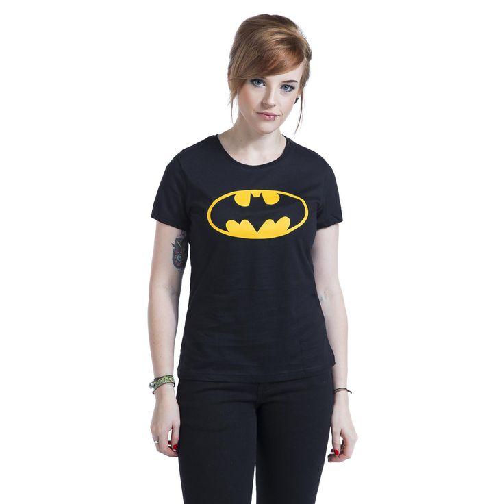 """Maglietta donna a maniche corte """"Logo"""" di #Batman nera con logo del supereroe in giallo stampato sulla parte frontale."""