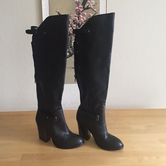 Dolce Vita over the knee black leather boots 7.5 The most beautiful perfect boots you have ever seen. Black over the knee leather. 3.5 inch stacked heel which artfully forms a wedge in the back. Pewter stud hardware and zippers. High in the front lower in the back with a leather behind the knee strap for comfort. I never did trim calves down to the 15inches they required. Time to face reality. My loss is your gain.  I wear a 6.5 in boots and these fit with thick socks - please be aware dolce…