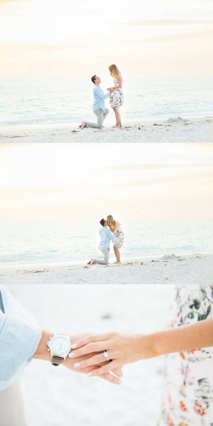 We just found the most beautiful beach proposal ever! He popped the question at sunset, and he even had a hidden photographer.