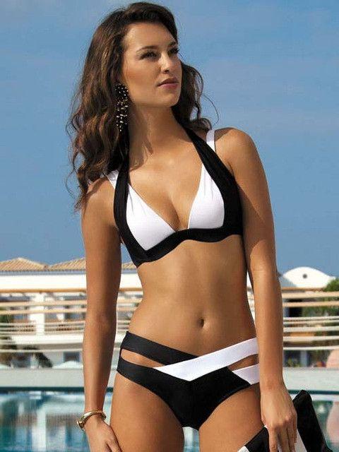 Sexy Bikinis Women Swimsuit Summer Beach Wear Bikini Set Push Up Swimwear Bandage Bathing Suit Black And White XL