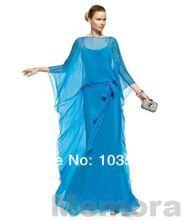 Dt659 три четверти 2015 модные блестками элегантных женщин длиной до пола шифон долго синий мать невесты платья(China (Mainland))