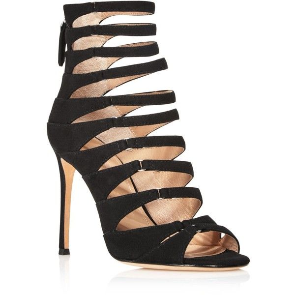 Pour La Victoire Elaine Suede Caged High Heel Sandals (445 CAD) ❤ liked on Polyvore featuring shoes, sandals, black, kohl shoes, black sandals, pour la victoire shoes, black shoes and heeled sandals
