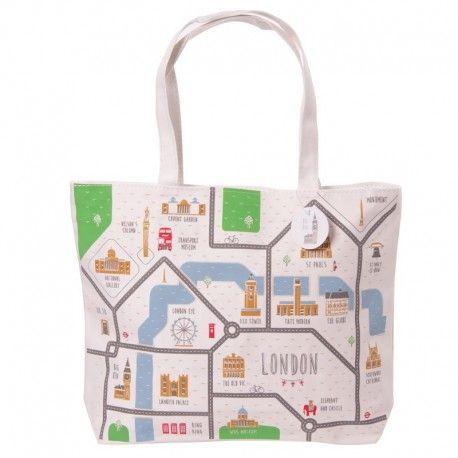 Sac en coton avec fermeture éclair - Carte de Londres