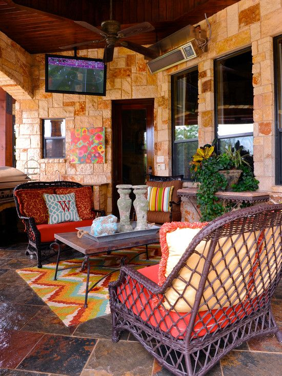 Great Propane Patio Heater Design : Traditional Patio With Slate Stone Wall  And Rattan Armchairs Also