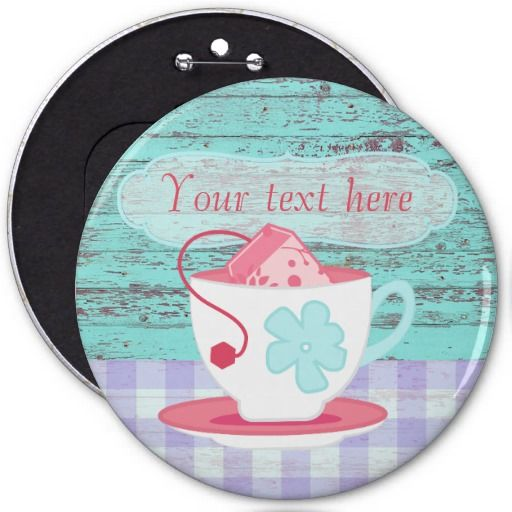 Girl's Birthday Tea Party Shabby-Chic Personalized 6 Inch Round Button