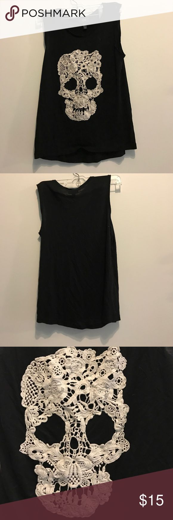 MNG lace skull tank Black soft tank with real lace skull. Hardly worn, NWT MNG Jeans Tops Tank Tops