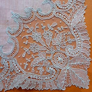 The Lace Guild - Vintage Flanders Needlelace- Point de Gaze corner of a hanky.  Lace hankies interlaced among your favorite garden blooms.....spectacular! A family heirloom hanky or mantilla....even more spectacular! Let's do it!