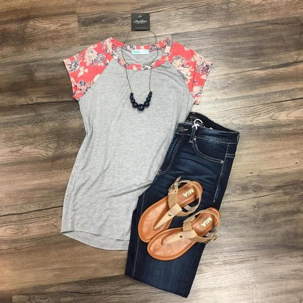 Floral Short Sleeve Baseball T-Shirt | Stitch Fix Ideas | Spring 2017 Outfit Inspiration | Outfits | What to Wear | Boutique