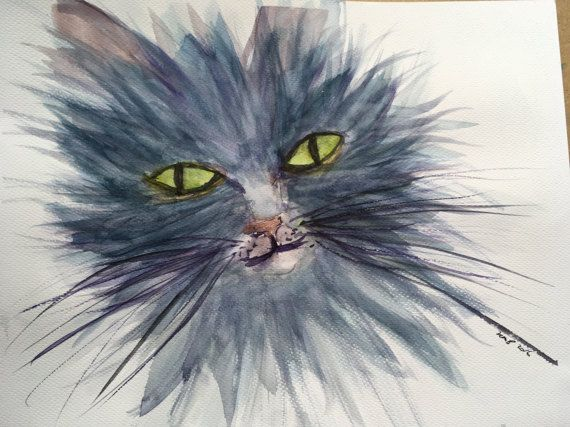 Sultry cat with yellow eyes watercolour with by KnottyThistle