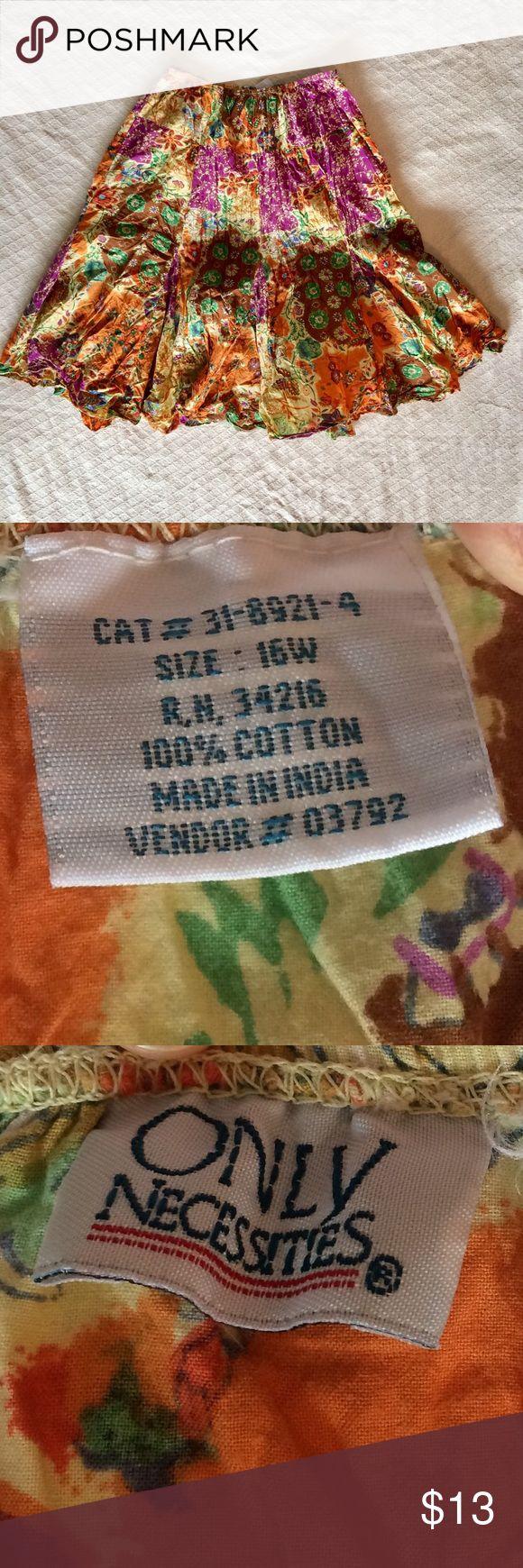 Cotton crinkle midi skirt Patchwork printed. Elastic waist. Only Necessities Skirts Midi