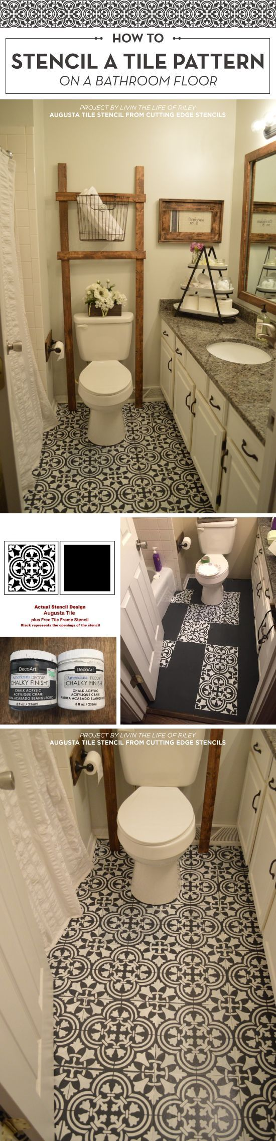 Cutting Edge Stencils shares a DIY stenciled linoleum floor project using the Augusta Tile Stencil pattern. http://www.cuttingedgestencils.com/augusta-tile-stencil-design-patchwork-tiles-stencils.html